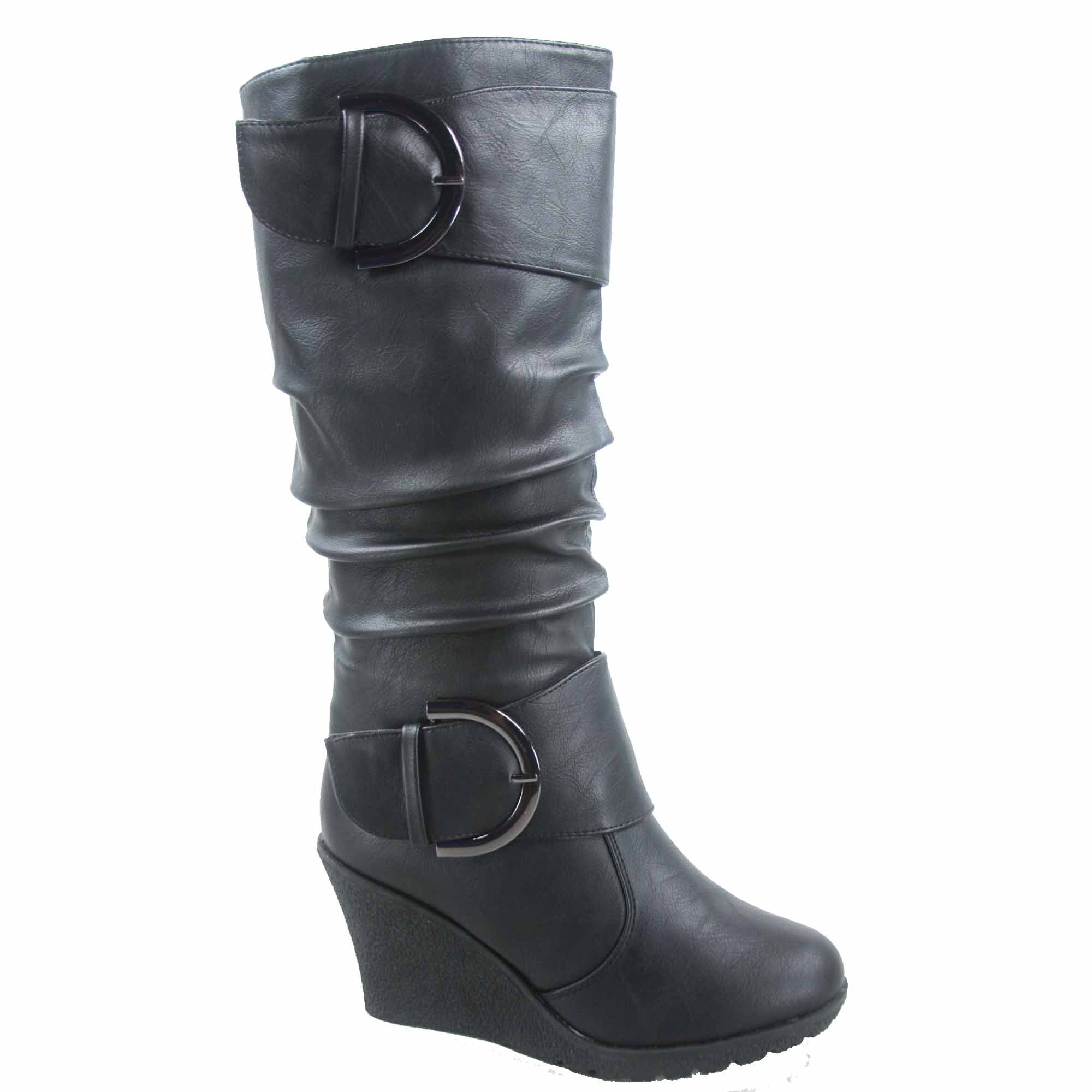 Top Moda Pure-65 Women's Fashion Round Toe Slouch Buckle Wedge Mid Calf Boot Shoes (10, Black)