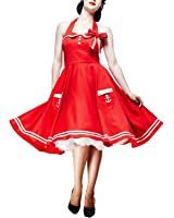 Hell Bunny - Rockabilly Kleid Motley 50s Dress Rot/Weiß (XS-XL)