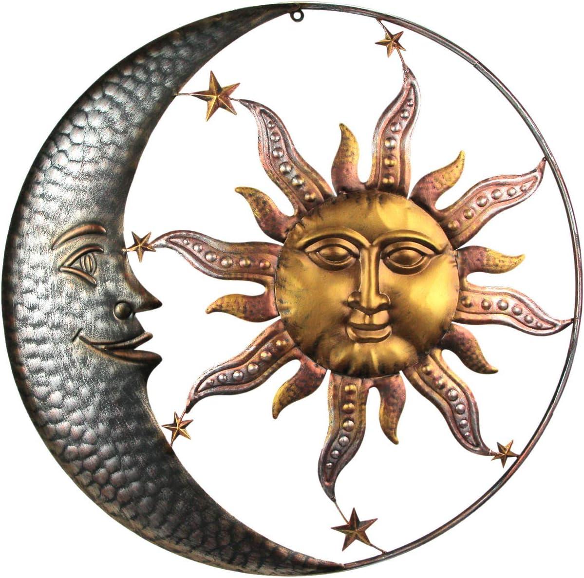 Direct International 28 Inch Diameter Three Tone Metal Art Celestial Sun and Moon Indoor Outdoor Wall Hanging