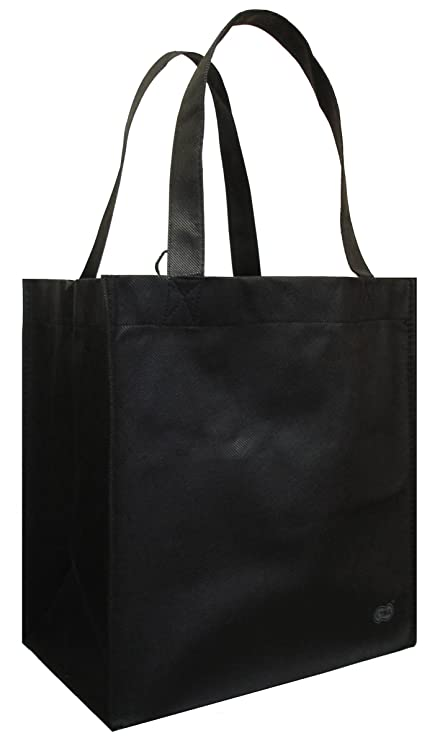 6b8a81874696 Reusable Grocery Tote Bag Black 6 Pack