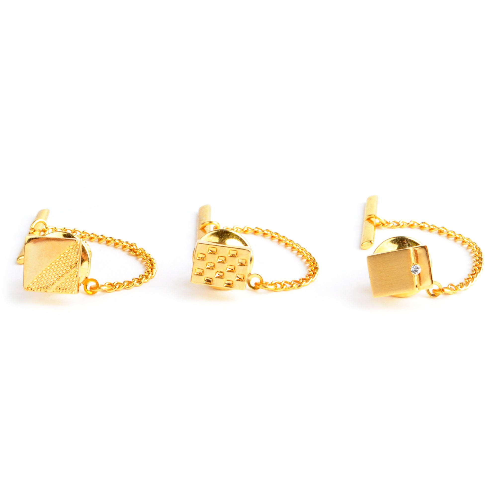 Gold Tone Square & Rectangle Tie Tack Set - 3 Pack
