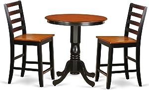 East West Furniture EDFA3-BLK-W 3 Piece Pub Table and 2 Kitchen Bar Stool Set