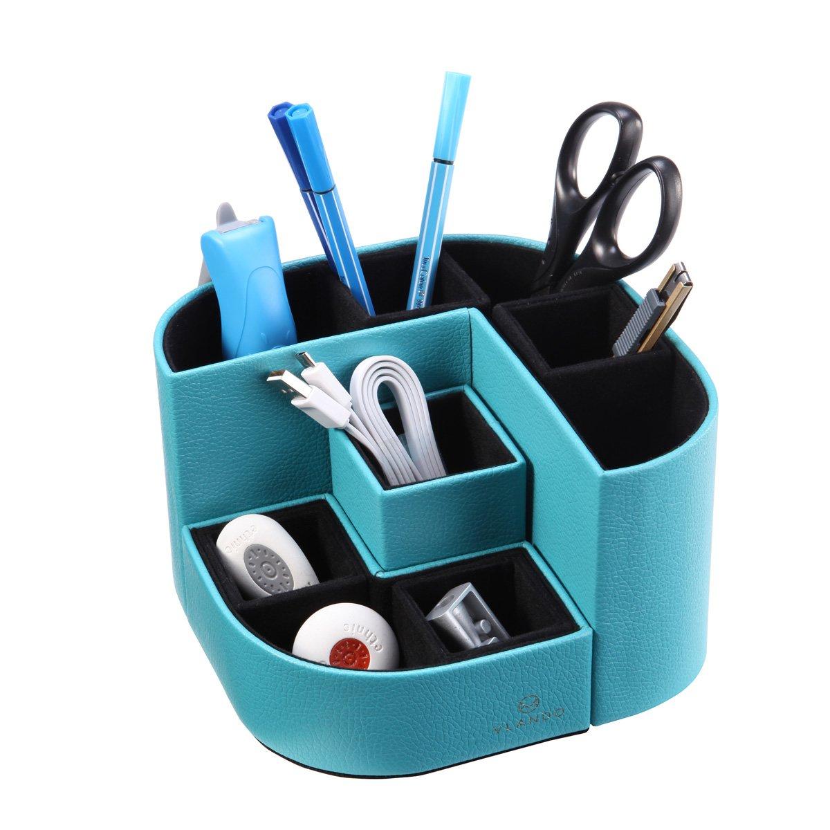 VPACK Magnet Desk Organizer - Pencil Cup Pen Holder - Office Supplies Desktop Stationery Gadgets Storage Box (Peacock Blue)