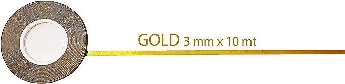 10 Metri x 7 Mm Quattroerre 10011 Strisce Adesive Rotolo Oro