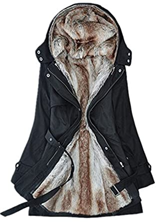 Bestfort Mantel Damen Wintermantel Warm Gefüttert Lämmer