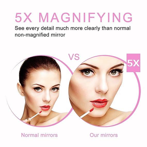 LONCWO Espejo de Maquillaje con Luz Incorporada, 5X de Aumento 30 Leds Sensor de Infrarrojos Maquillaje Espejo con Rotación de 360 Grados, Batería/USB Carga ...