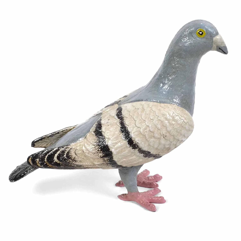 "Cast Iron Pigeon Figurine Statue Hand Painted 7/"""