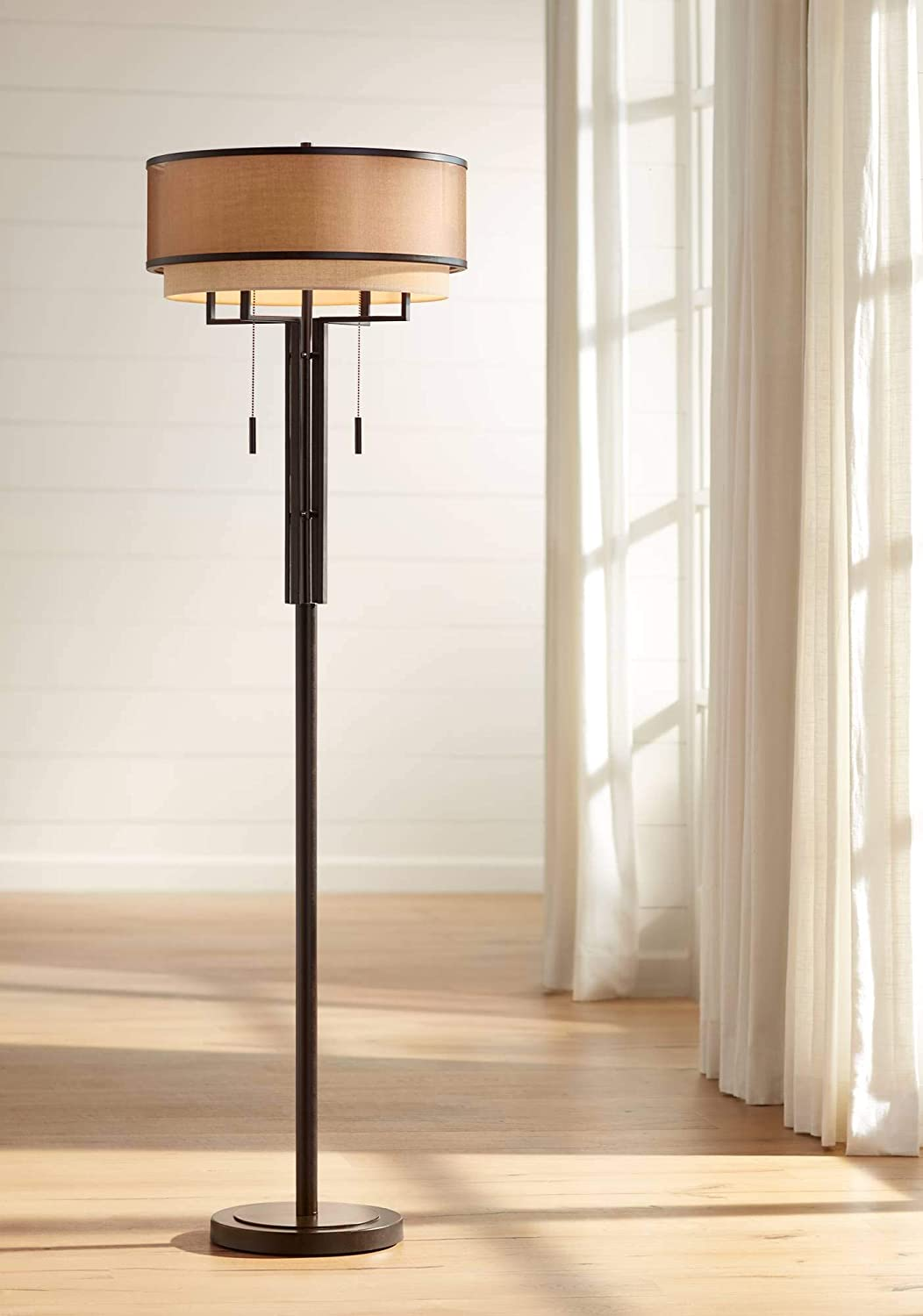 Alamo Modern Floor Lamp Industrial Bronze Sheer Brown Organza and Linen Double Drum Shade for Living Room Reading – Franklin Iron Works