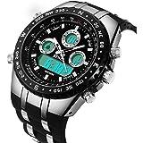 BINZI. orologio da uomo impermeabile, sportivo, digitale, con doppio display, luce LED e cinturino di silicone nero