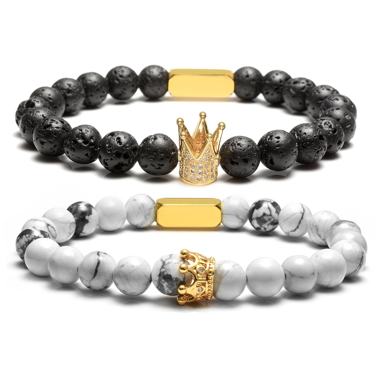 Top Plaza Aromatherapy Diffuser 8MM Natural Lava Rock White Turquoise Stone Beads Stretch Bracelet Couples Lover His Queen Her King Bracelets-Him and Hers