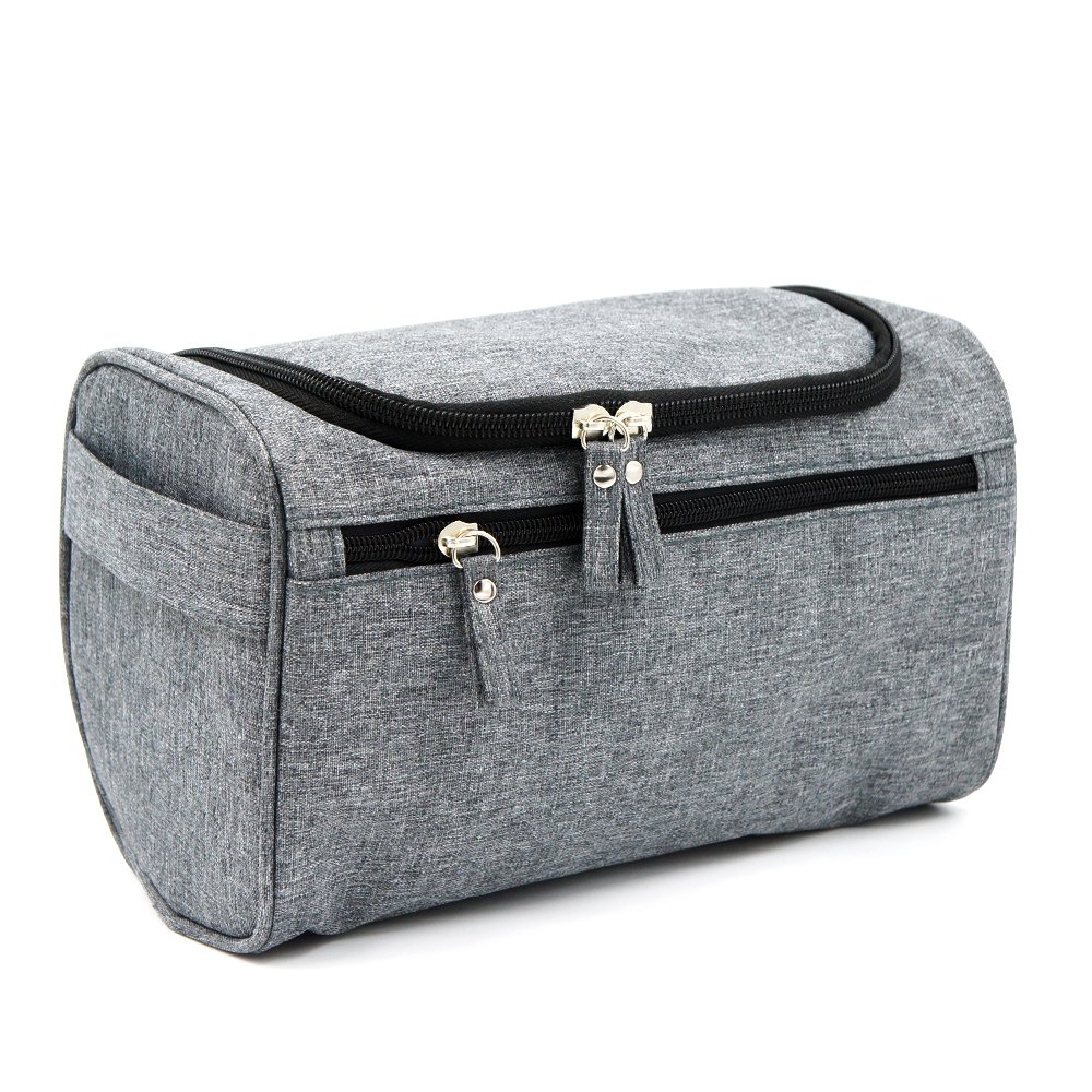 Travel Toiletry Bag Waterproof Zip Organizer Hanging Cosmetic Makeup Shower Bag With Large Compartment for Men Women for Trip Vacation Gym (Denim Grey)