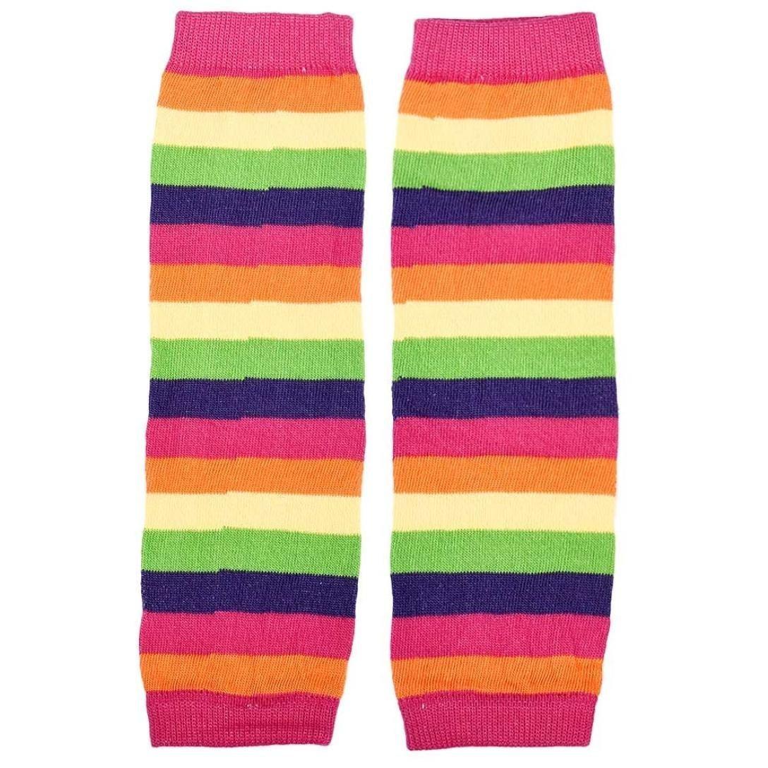Stripes Rainbow Kneepad Socks Leg Warmer Cotton Leggings for Kids Girls