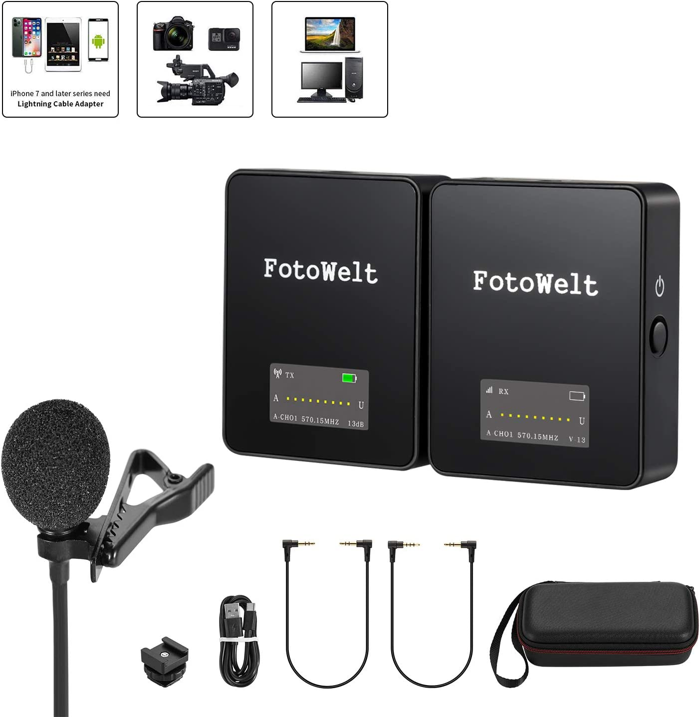 Wireless Lavalier Microphone System Mini Lapel Microphone for iPhone iPad Smartphone Camera with OLED Display, Omnidirectional External Lav Mic for Podcast Interview Vlogging YouTube Video Recording