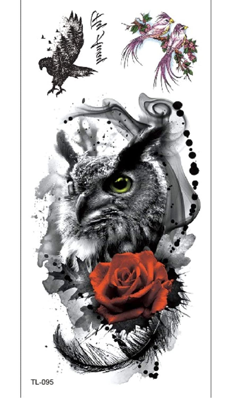 Rama De Flor Roja De Águila Tatuajes Temporales A Prueba De Agua ...