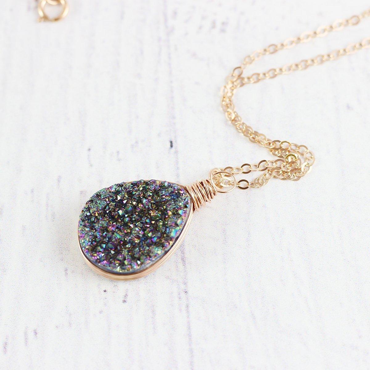 Rainbow Druzy Geode Rose Gold Teardrop Necklace - 18' Length .