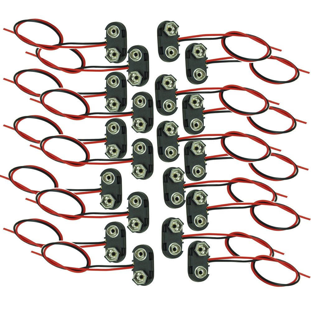 9V Batteries Clip Connectors T Type Holder Black Red With Wire 20pcs pkcell