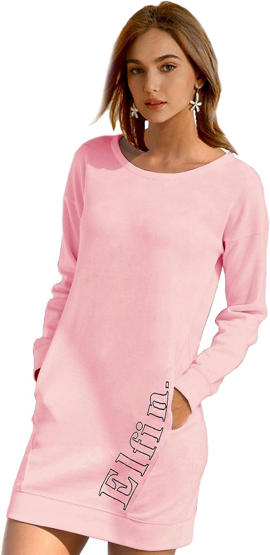 ELFIN Damen Sweatkleid Langarm Kleider Sweatshirt Dress L/ässig Sportliche Longshirt Tops Minikleider mit Logodruck Herbst