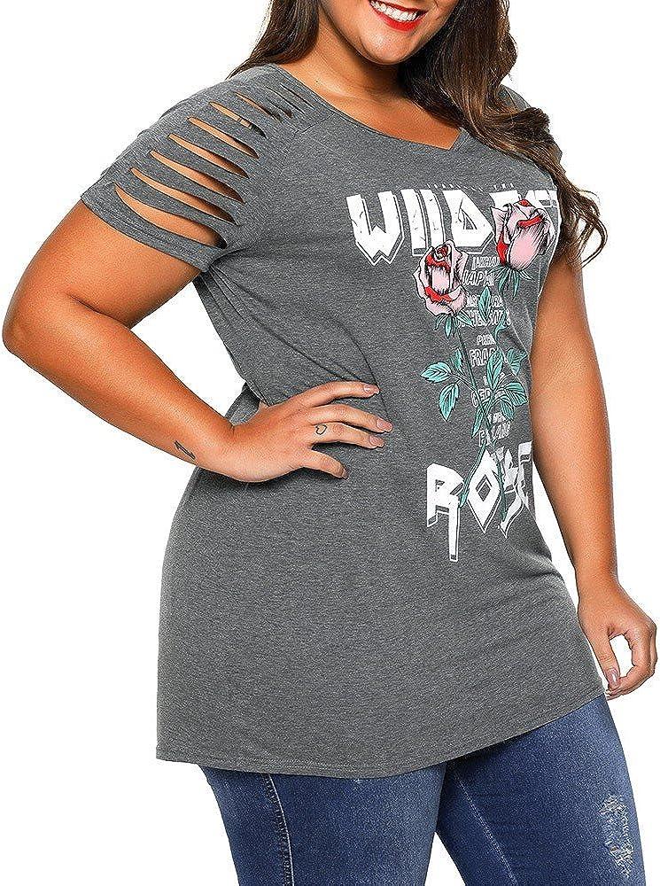 Geilisungren Camisetas Mujer Manga Corta, Blusas para Mujer Elegantes Tallas Grandes, Tops Mujer Verano Casual, Cuello en V Camisetas Imprimiendo Pulóver Deporte Camiseta: Amazon.es: Ropa y accesorios