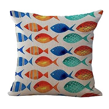 Amazon.com: YJ oso peces del Mar Shell Cobo Impresión Lino ...