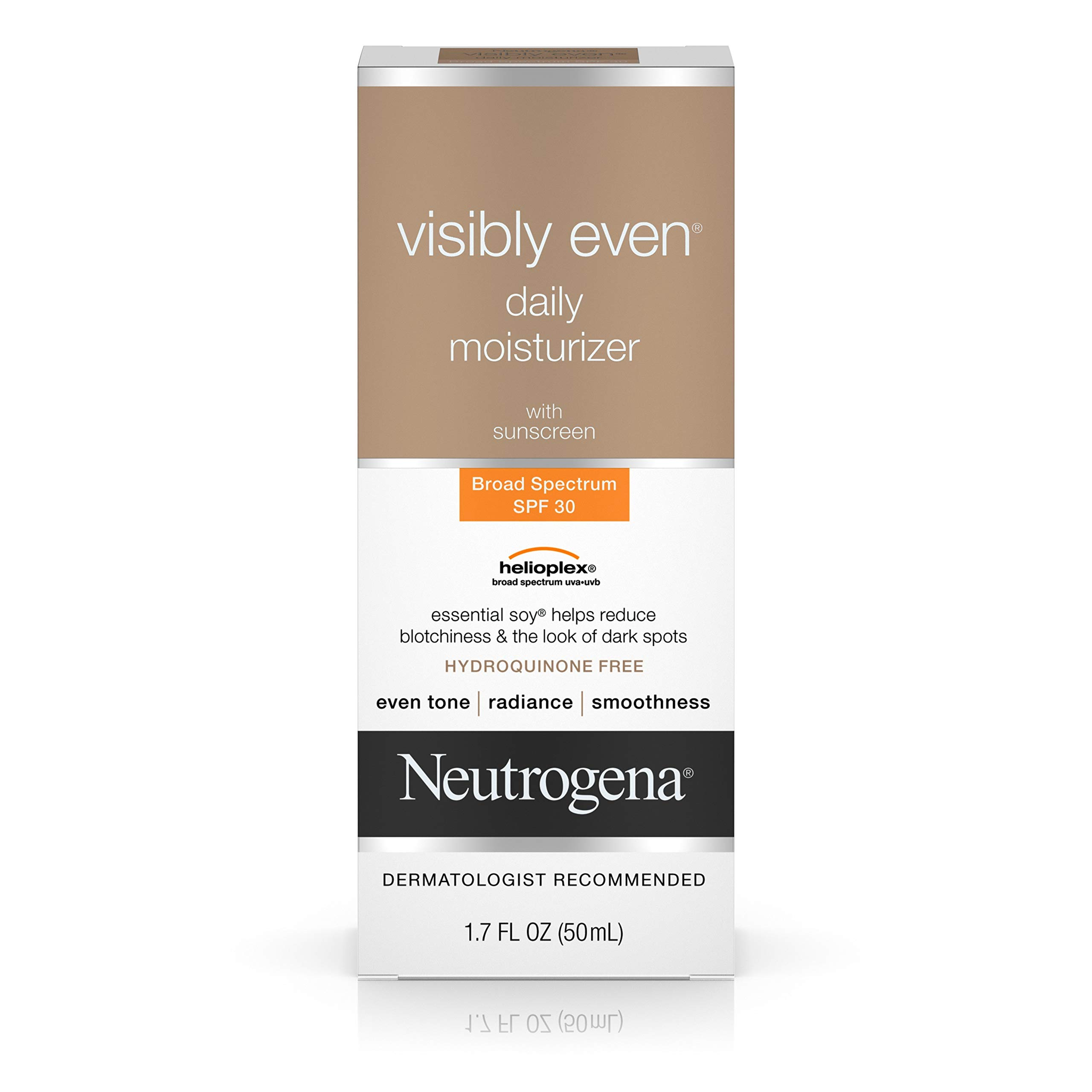Neutrogena Visibly Even Daily Facial Moisturizer With Broad Spectrum SPF 30 Sunscreen, Essential Soy for Skin Discoloration, Dark Spots, and Even Skin Tone, Hypoallergenic, 1.7 fl. Oz by Neutrogena