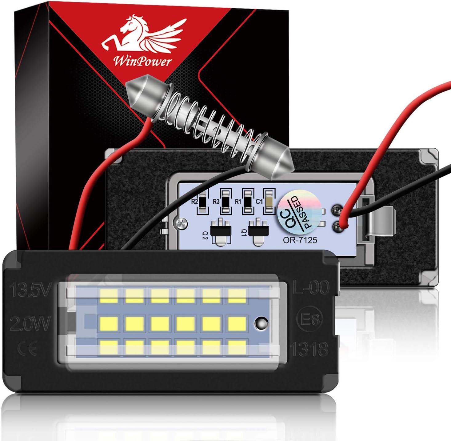 WinPower LED Kennzeichenbeleuchtung Gl/ühbirnen Nummernschildbeleuchtung Lampe 3582 SMD mit CanBus Fehlerfrei 6000K Xenon kaltwei/ß f/ür 2000-2007 C-Klasse W203 4-T/ürer Limousine usw 2 St/ücke