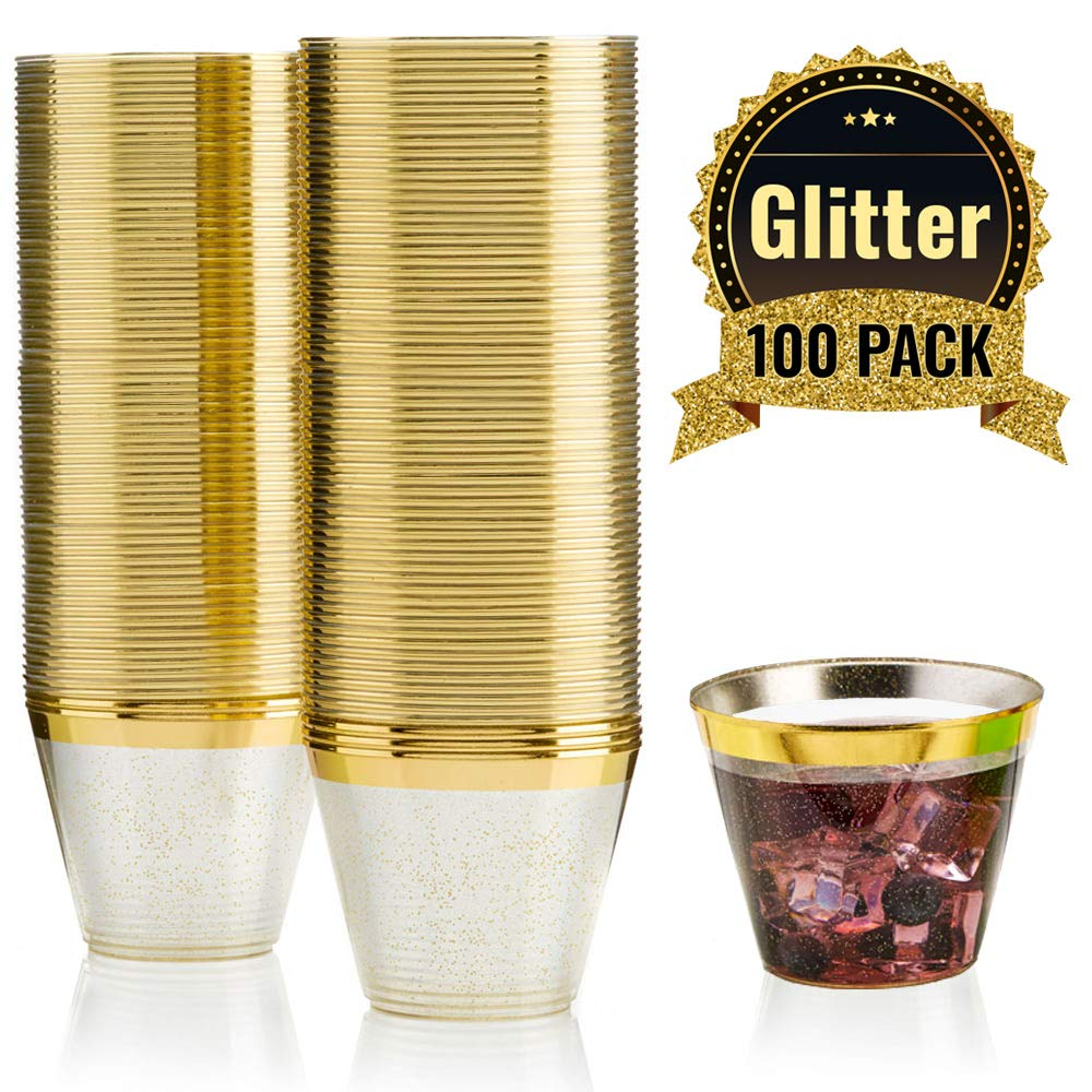 100 GOLD GLITTER GOLD RIMMED Plastic Cups ~ 9 Oz Disposable Wedding Party Cup ~ Old Fashioned Tumblers by F-32 Signature Collection