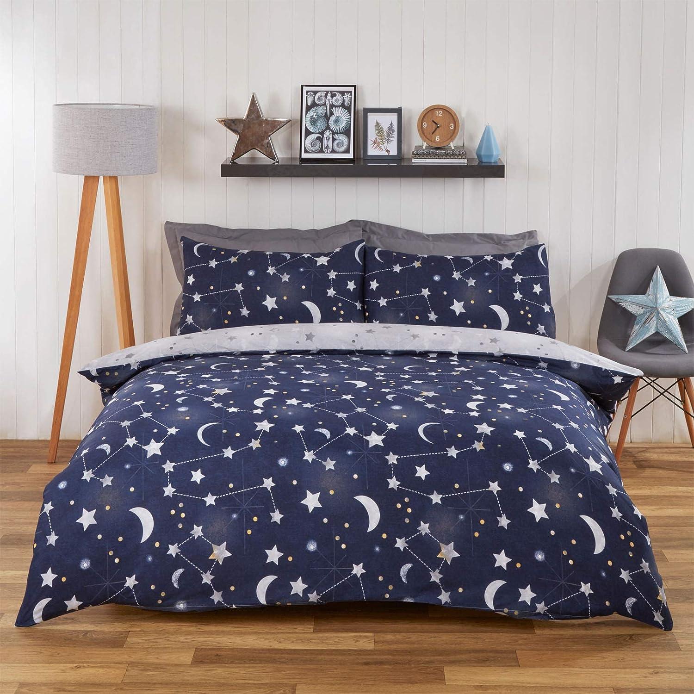 Stars Gris reverisble lit de couette couette Set Avec Assorti Taie d/'oreiller