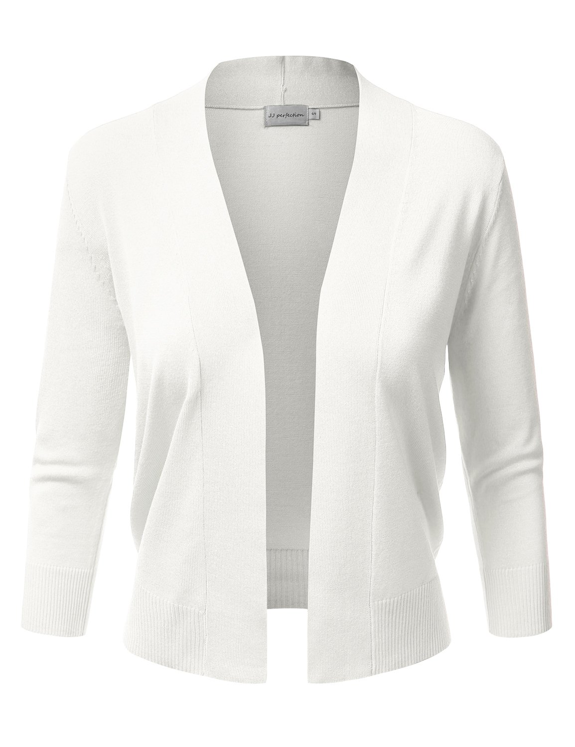 JJ Perfection Women's Basic 3/4 Sleeve Open Front Cropped Cardigan White M