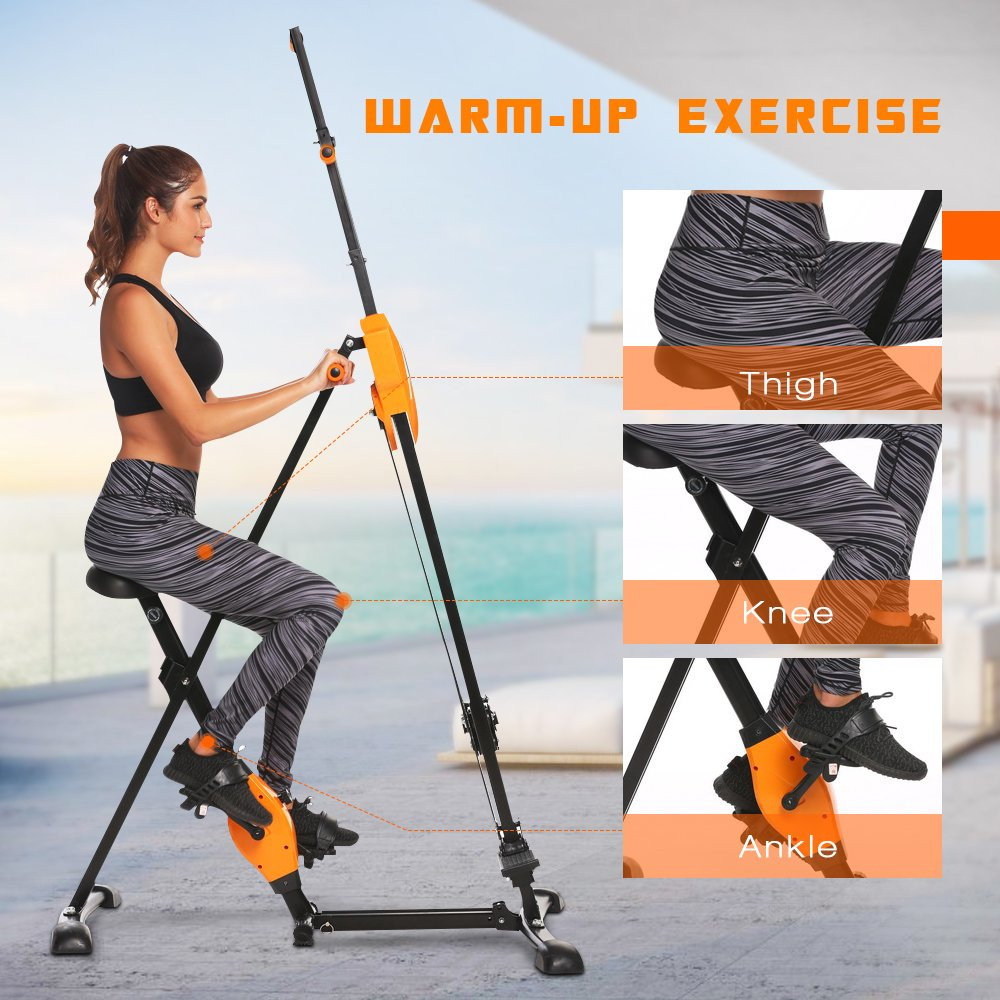 ANCHEER Vertical Climber Folding Exercise Climbing Machine, Exercise Equipment Climber for Home Gym, Exercise Bike for Home Body Trainer (Orange) by ANCHEER (Image #4)