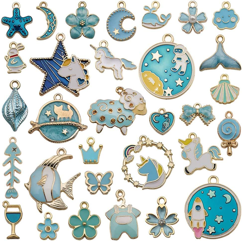 30pcs Mixed Enamel Blue Theme Charms Pendants for Jewelry Making Bulk lot Necklace Earrings Bracelet Craft Findings