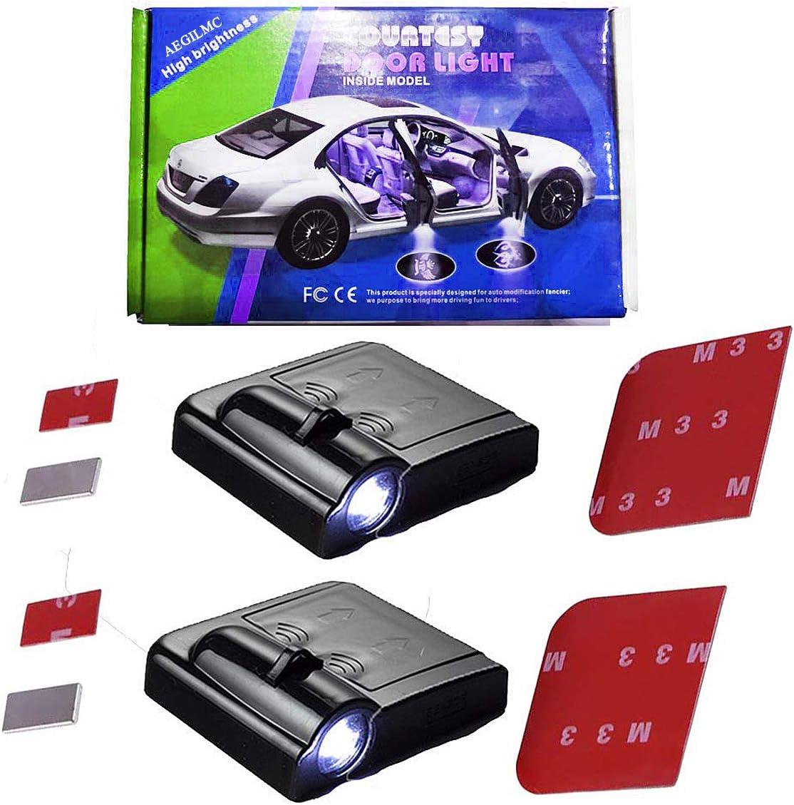 LED Magnet Drahtlose Lampe Smart Led Projektor Ghost Shadow Licht Auto Embleme Door Courtesy Light T/ürbeleuchtung Willkommen Lampe,Foraudi Aegilmc Autot/ür Logo Projektion Licht Set