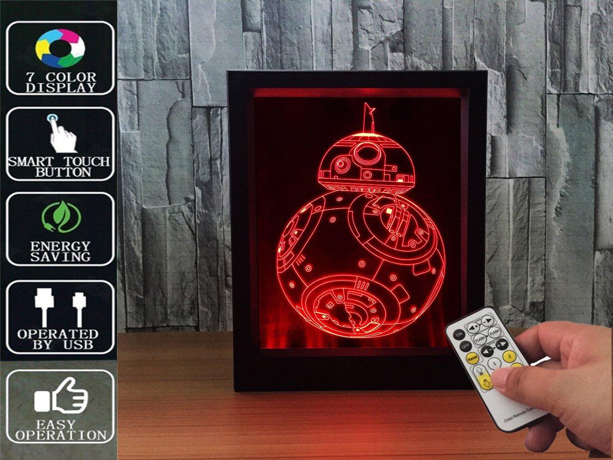 ロボットリモートコントロール3d Magicフォトフレーム夜ライトIllusionナイトライト7色変更テーブルデスクデコレーションランプ寝室子供部屋装飾常夜灯USBとバッテリ B078ZXDZXG