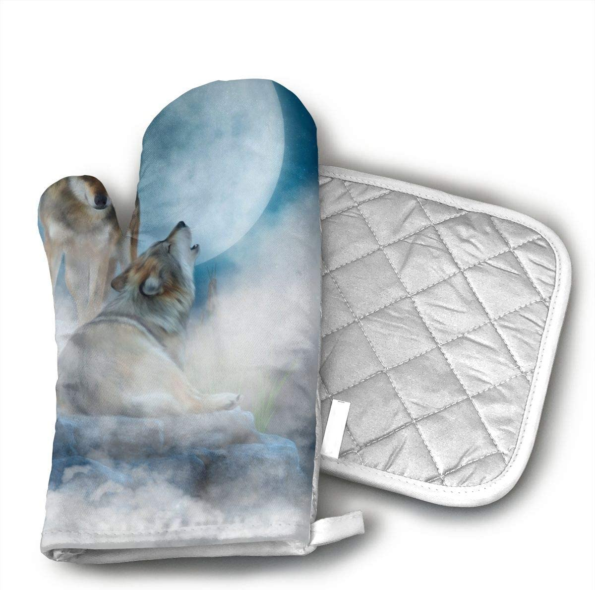 Ubnz17X Wolves in The Mist Oven Mitts and Pot Holders for Kitchen Set with Cotton Non-Slip Grip,Heat Resistant