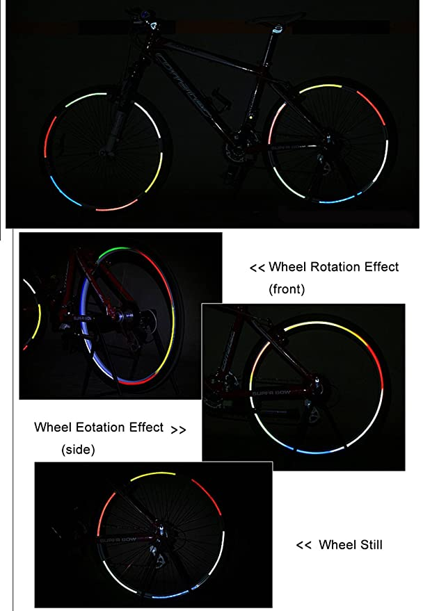 DEALBOX 32 Stripes 4 Colors Fluorescent MTB Bike Car Bicycle Sticker Cycling Wheel Rim Reflective Tape Decal