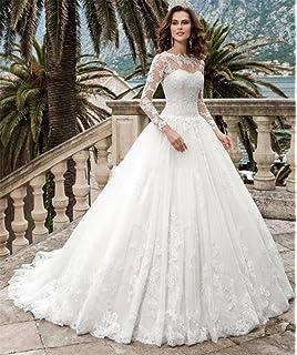 feeb6d80c9298b LUCKY-U Vestito da Sposa Bianca Lungo Donna Elegante Abito da Sposa Treno  della Cappella