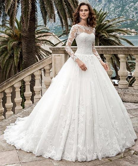 a7b445987737 LUCKY-U Vestito da Sposa Bianca Lungo Donna Elegante Abito da Sposa Treno  della Cappella