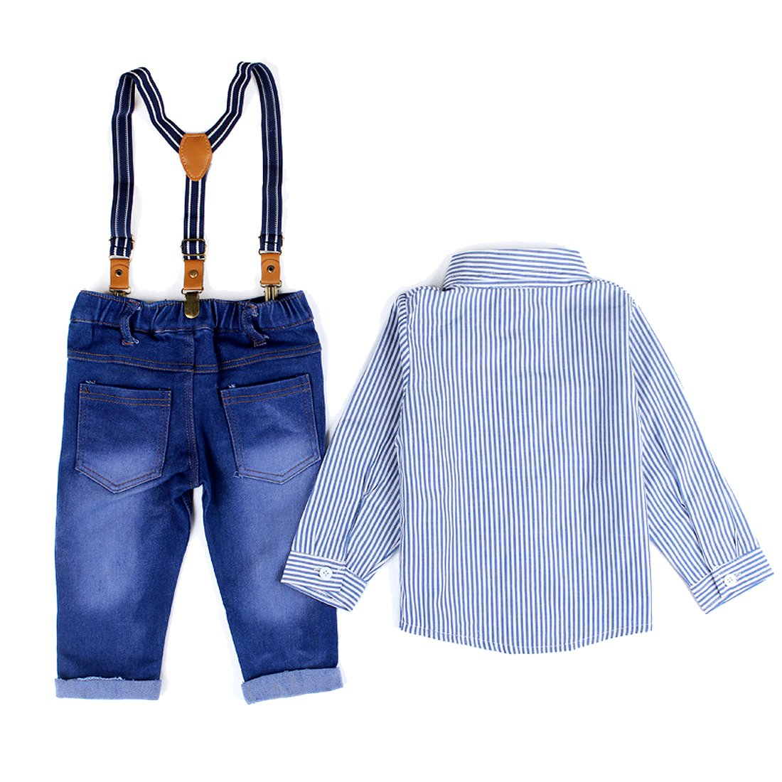 SOPO Cute Baby Boy Outfits with Suspenders Denim Jeans Set Blue