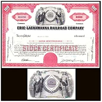 921851274a4a 1963 BEAUTIFULLY ENGRAVED ORIGINAL ERIE LACKAWANNA RAILROAD STOCK ...
