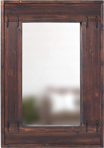 Barnyard Designs Decorative Wall Hanging Mirror, Rustic Farmhouse Mirror Wall Decor, Large Wood Frame Mirror for Living Room, Bedroom or Bathroom Vanity, 27.5 x 40
