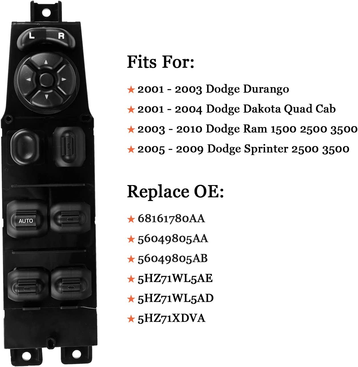 Interior Switches Automotive Replace OE 68171680AA 56049805AB ...