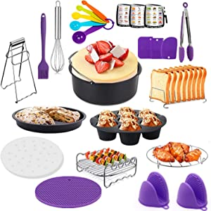 23 Pcs Air Fryer Accessories for Ninja Gowise Cosori Phillips Cozyna,4.2/5.5/5.8/6.5 QT Deep Fryer Accessory with 7 inch Cake Barrel,Pizza Pan,Recipes Cookbook,Skewers Rack and more -Purple