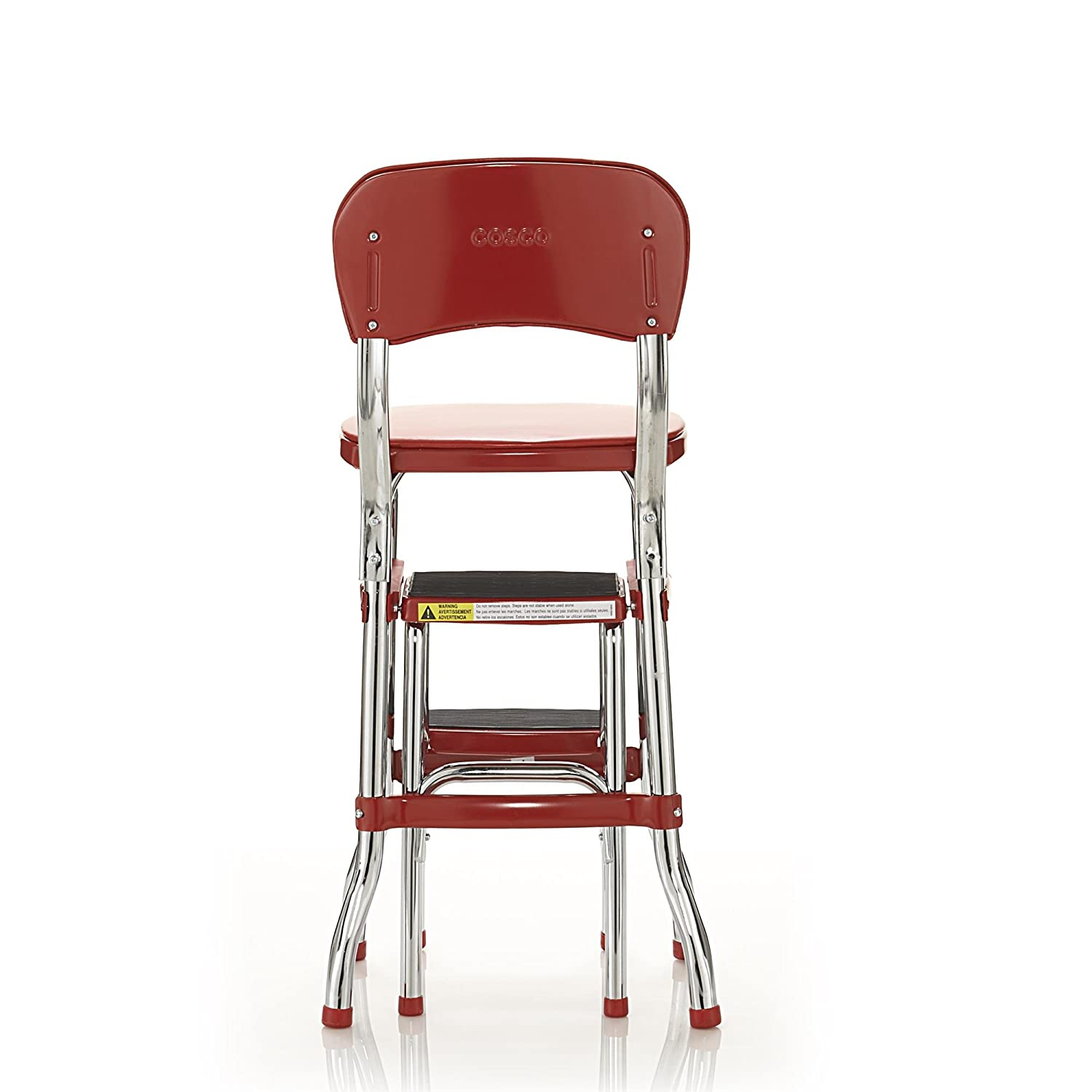 Attrayant Retro Counter Chair/Step Stool Red W/ Cushioned Seat U0026 Back U0026 Chrome Finish