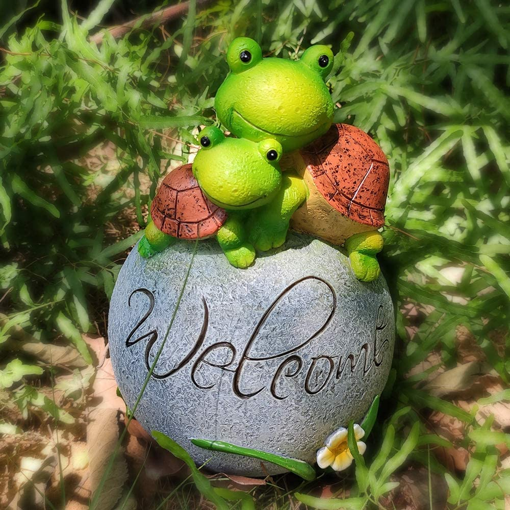 CHOiES record your inspired fashion Garden Turtles Statue Figurine Dec,Welcome Turtles Garden Sculpture On A Rock for Ourddor Indoor Decor Statue Patio Yard Lawn Ornaments Gift 8 X 5.5INCH
