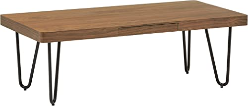 Amazon Brand Rivet Hairpin Mid-Century Modern Wood and Metal Coffee Table, Walnut and Black