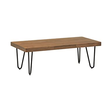 Rivet Hairpin Wood and Metal Coffee Table, Walnut and Black