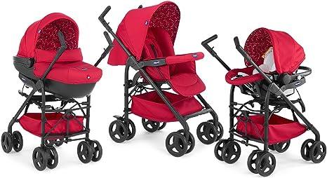 Chicco Trio Sprint Black Sistema de paseo y viaje 3 en 1, capazocarritocoche, grupo 0+, color rojo