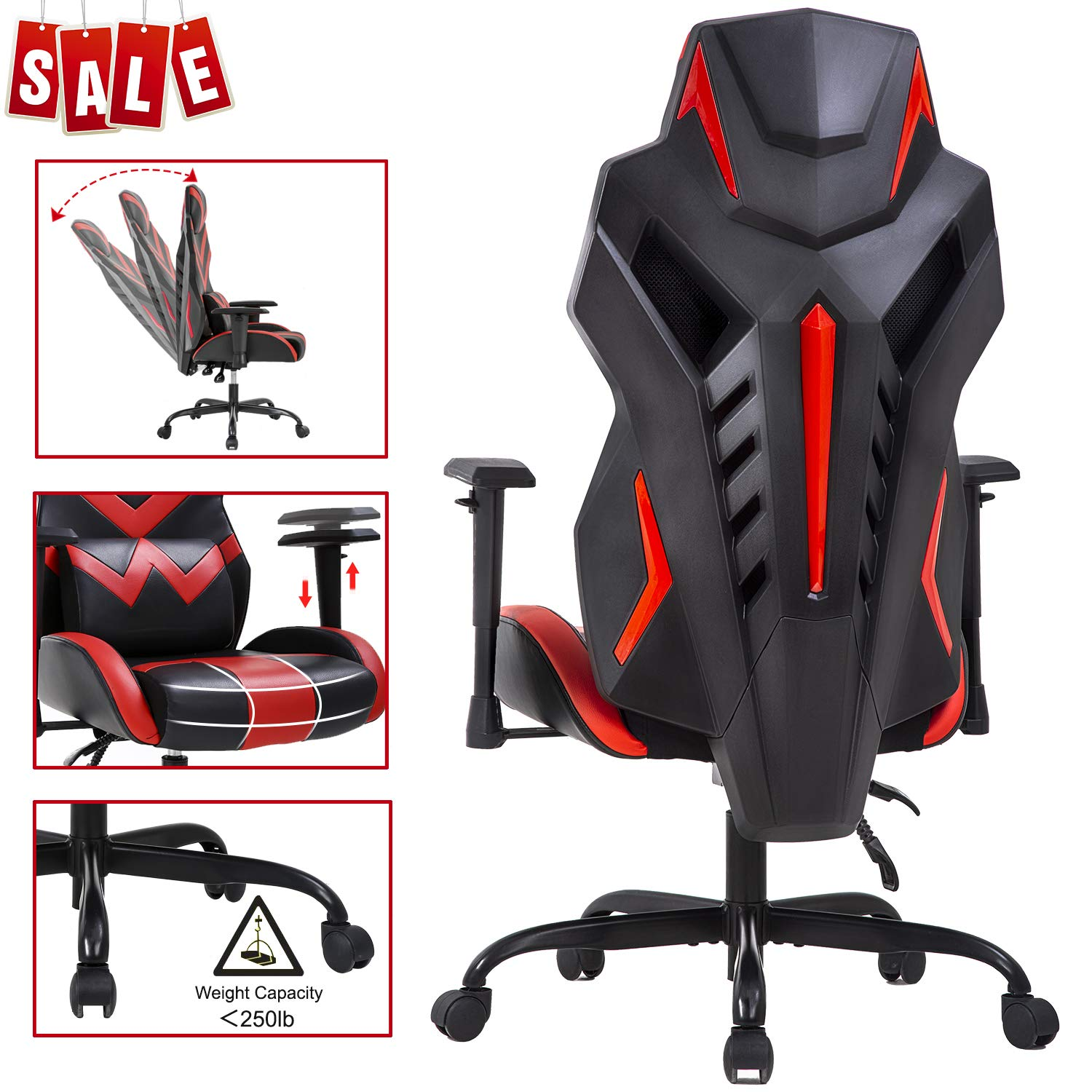 PC Gaming Chair Ergonomic Office Chair Desk Chair with Lumbar Support Arms Executive Computer Chair Rolling Swivel Task Chair for Back Pain, Red by BestOffice