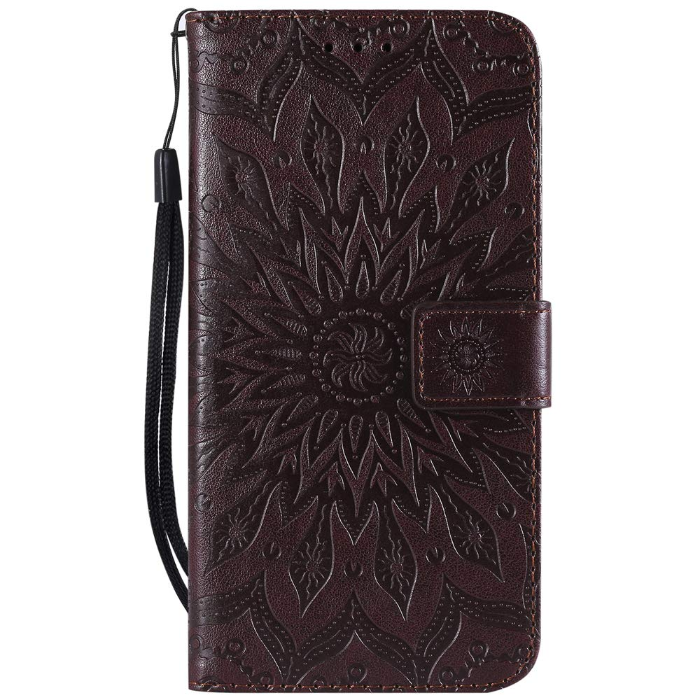 Vagenno Huawei P30 Lite Case Shockproof PU Leather Flip Case Cover Notebook Wallet Embossed Sun flower with Stand Card Holder Soft TPU Bumper Protective Skin Case,Gray