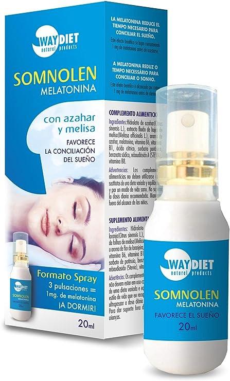Somnolen Melatonina Spray 20 ml de Waydiet Natural Products: Amazon.es: Salud y cuidado personal