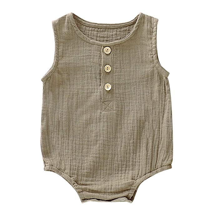 Playsuit for Infant Toddler Baby Girls Boys Sleeveless Linen Jumpsuit Casual Buttons Romper Haokaini